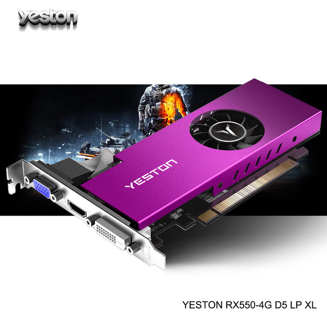 Yeston Radeon mini RX 550 GPU 4GB GDDR5 128bit Gaming Desktop computer PC Video Graphics Cards support VGA/DVI D/HDMI PCI E 3.0|Graphics Cards|   -