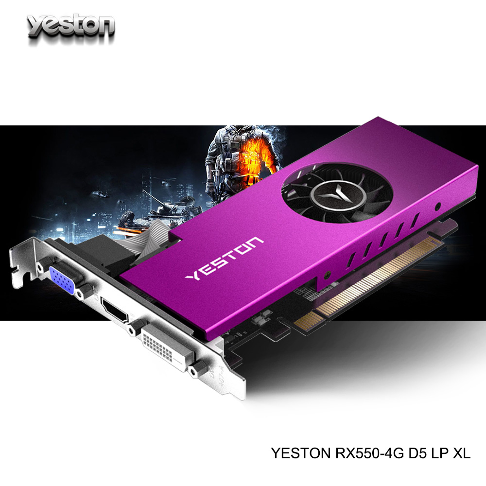 Yeston Radeon mini <font><b>RX</b></font> <font><b>550</b></font> GPU 4GB GDDR5 128bit Gaming Desktop computer PC Video Graphics Cards support VGA/DVI-D/HDMI PCI-E 3.0 image