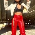 Брюки Biggorange Y2K женские с завышенной талией, шикарные облегающие пикантные кожаные Клубные брюки с вырезами, уличная одежда, лето