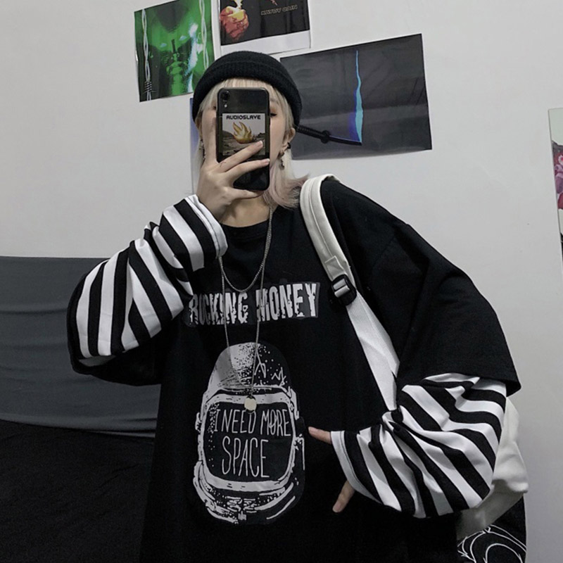 Oversized stripe Long sleeve Harajuku Loose Autumn Fake two t shirt Casual Streetwear Letter Print Tee Hip Hop Women Vogue tops