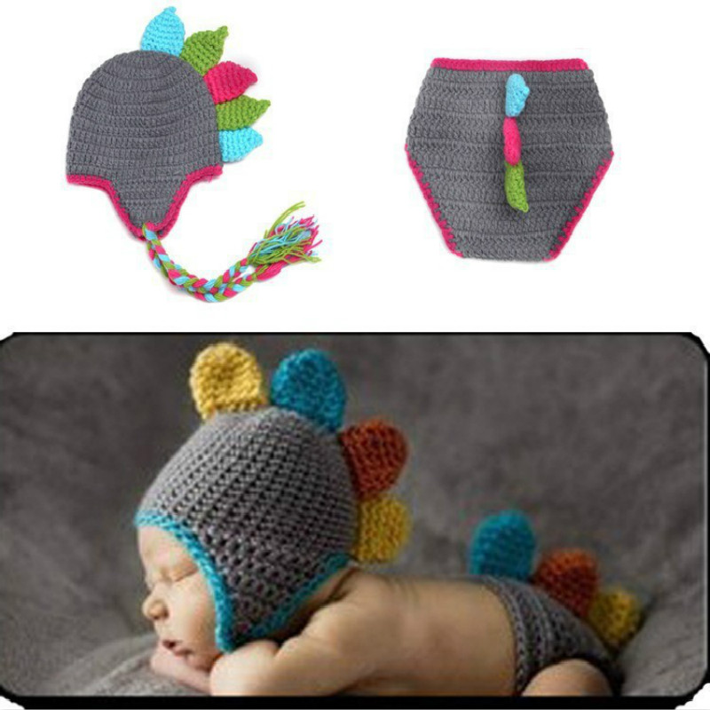 Hot Sales Baptism Baby Handmade Photography Clothing Baby Clothes Dinosaur Two-Piece Set