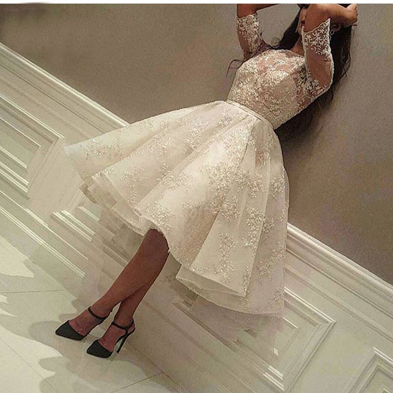 Sexy Short Prom Dress Half Sleeves Lace Knee Length Elegant Arabic Short Prom Gowns 2019 Saudi Arabia Ball Gown For Party 2019