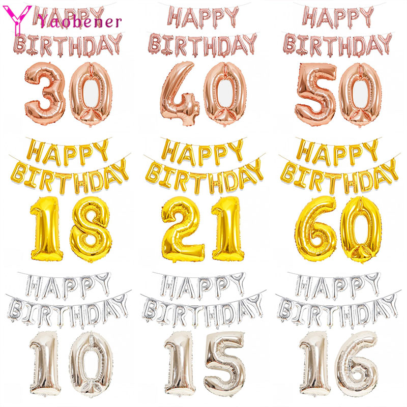 1set Glücklich Birthrday Folie Brief Anzahl Ballon 10 15 16 18 21 30 40 50 60 Jahre Geburtstag Party dekorationen Erwachsene Kinder Ballons