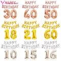Шары из фольги в виде букв и цифр для дня рождения, 10 15 16 18 21 30 40 50 60 лет