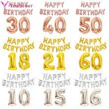 1 conjunto feliz birthrday folha número da letra balão 10 15 16 18 21 30 40 50 60 anos aniversário decorações adulto crianças balões