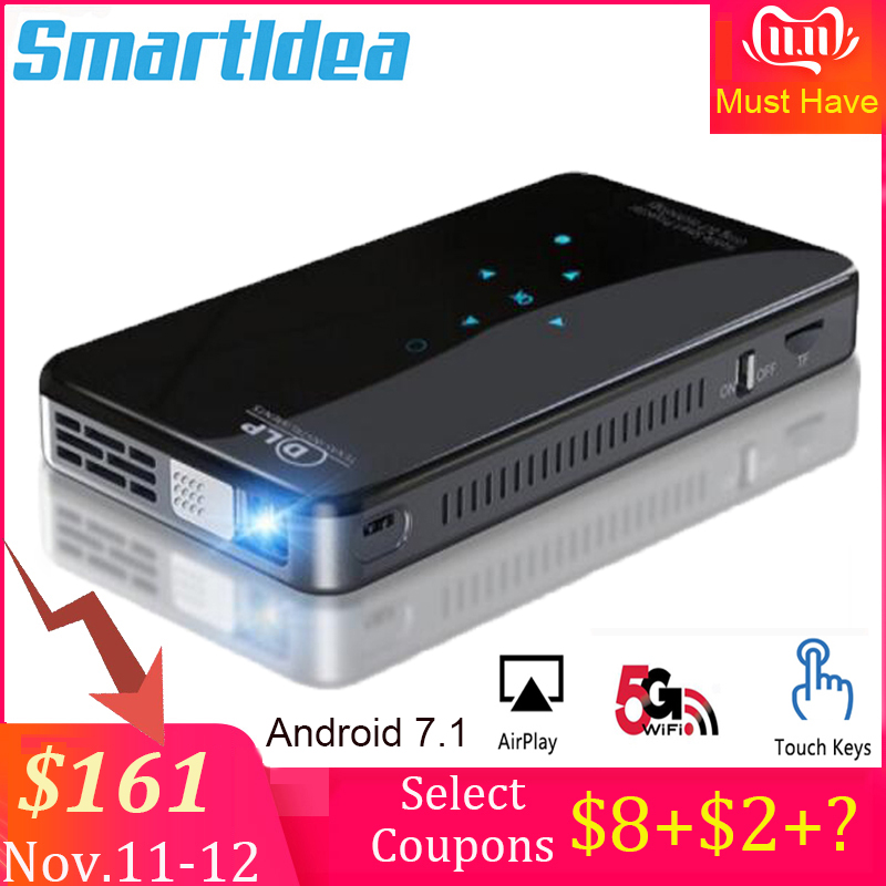 SmartIdea X2 Android7.1 mini phone projector 200lumen 5G wifi bluetooth battery for 3hours play touch keys HDMI in 1080P Beamer-in LCD Projectors from Consumer Electronics