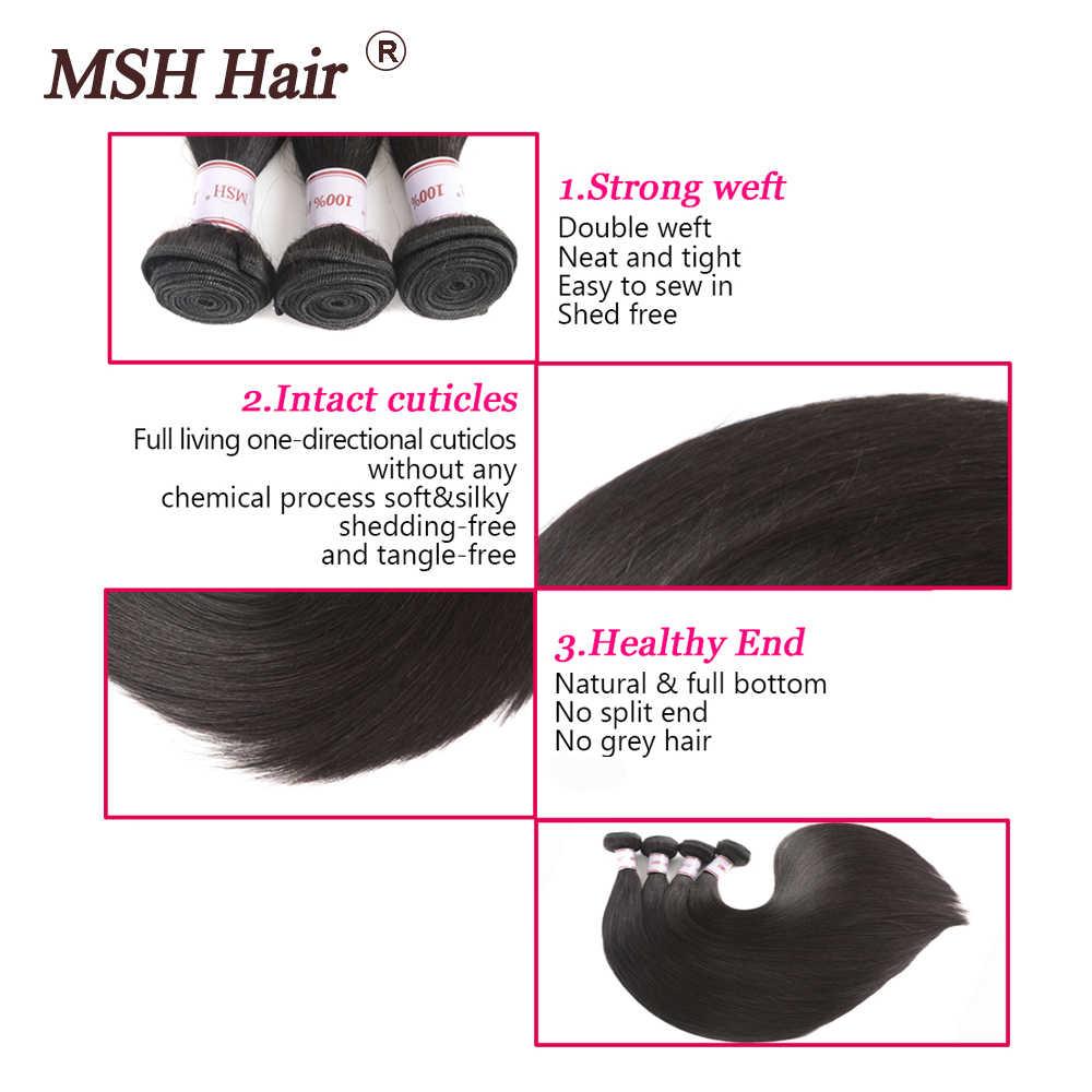 MSH włosy brazylijski proste ludzkie włosy splot wiązki z 4*4 zamknięcie koronki 130% gęstości nie Remy włosy średni stosunek
