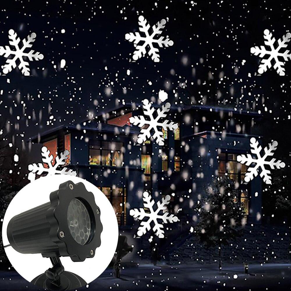 Движущийся лазерный проектор в виде снежинки, светильник на Рождество, Новый Год, светодиодный светильник для сцены, для улицы, снежные