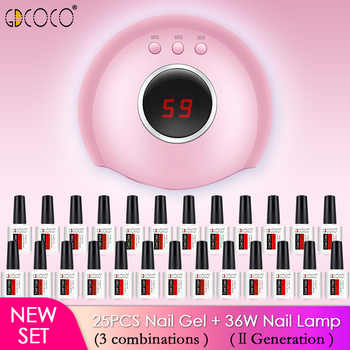 New nail kit 25pcs GDCOCO nail polish gel 3 step soak off 12 watts led nail lamp manicure gel set - DISCOUNT ITEM  40% OFF All Category