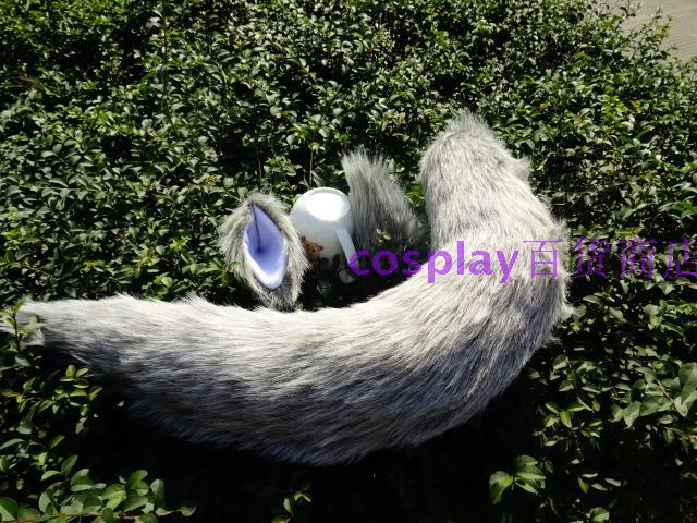 Universal Light Gray Plush Tail Animation Cosplay Stage Show Props Fox Demon Beast Wolf Tail Ears