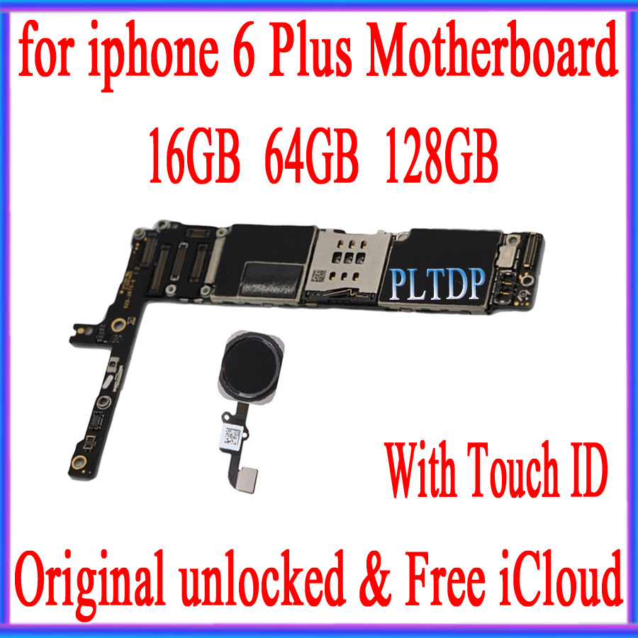 Factory unlocked for iphone 6 Plus 5.5inch Motherboard with Touch ID,Original for iphone 6Plus Logic board with Free iCloud|Mobile Phone Antenna| |  -