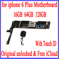 Factory unlocked for iphone 6 Plus 5.5inch Motherboard with Touch ID Original for iphone 6Plus Logic board with Free iCloud Mobile Phone Antenna     -