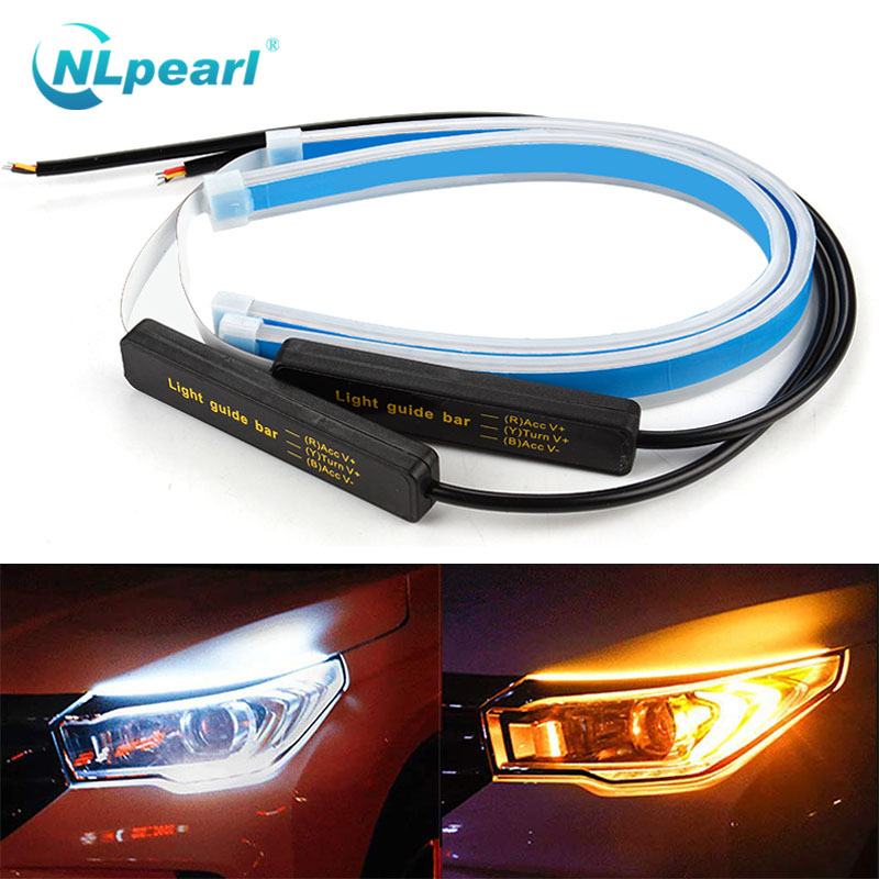 NLpearl  Car Light Assembly 30 45 60cm Led DRL Daytime Running Lights Turn Signal Waterproof Flexible Soft Guide DRL LED Strip