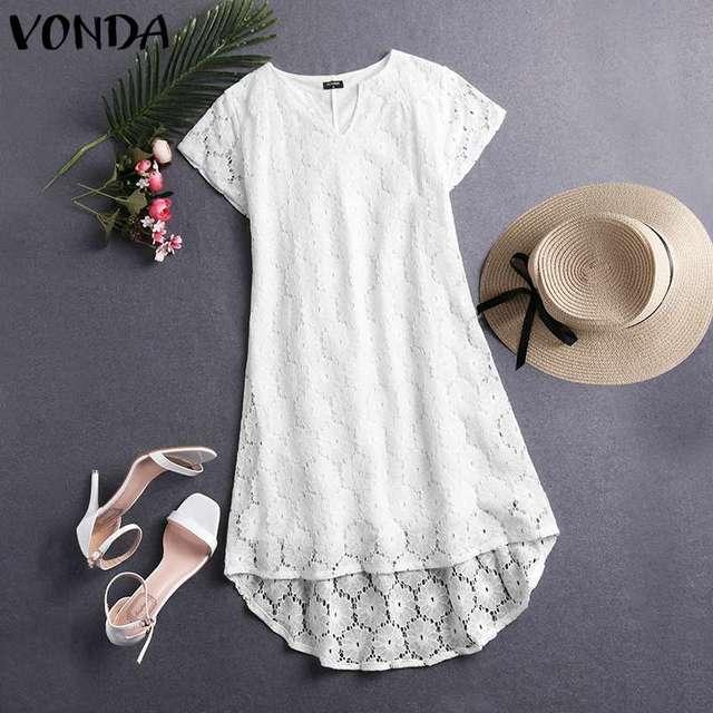 VONDA Summer Solid Dress Sexy Hollow Lace Party Mini Dress Women Bohemian Sundress 2019 Casual Asymmetrical Vestidos Plus Size 4