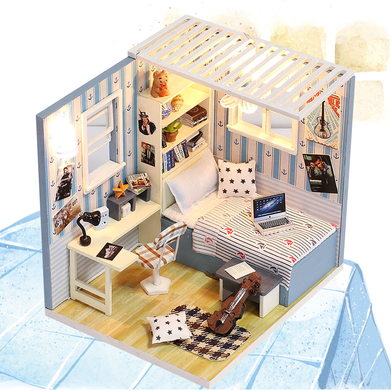 DIY Miniature Doll House Wooden Handmade Puzzle House 3D Furniture LED Light Dollhouse Toys For Children Birthday Gifts M008