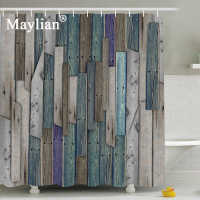 Bathroom Shower Curtains Home Vintage Wooden Board Eco-friendly Waterproof Moldproof 180*180 3d Thick With Hooks Hsg035