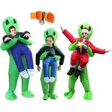 Надувной зеленый инопланетный костюм для взрослых и детей, Забавный костюм для вечеринки, нарядное платье унисекс, костюм на Хэллоуин для д...