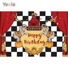 Yeele Baby Circus Elephant Happy Birthday Red Curtain Black White Square Portrait Poster Photography Backdrops Photo Backgrounds