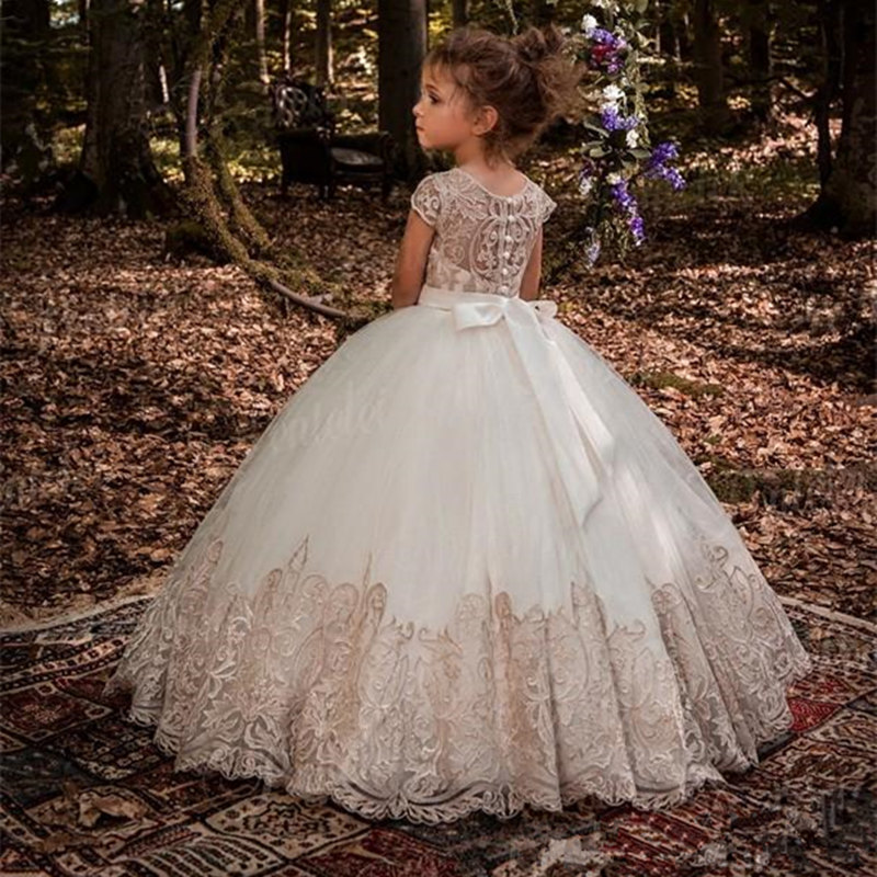 Lace Flower Girls Dresses For Wedding First Communion Dresses Party Prom Princess Gown Pageant Dresses