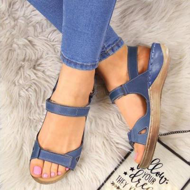 2020 New Women Sandals Soft Three Color Stitching Ladies Sandals Comfortable Flat Sandals Open Toe Beach Shoes Woman Footwear 3