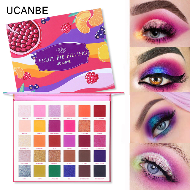 UCANBE 2pcs/lot Supersize Eye Shadow Palette Makeup Set Colorful Artist Shimmer Glitter Matte Pigmented Powder Pressed Eyeshadow 4