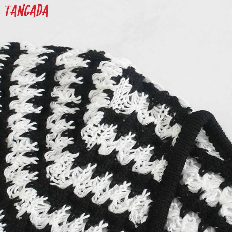 Tangada 한국 세련된 여성 줄무늬 패턴 여름 스웨터 퍼프 슬리브 숙녀 자르기 니트 점퍼 탑스 3L54