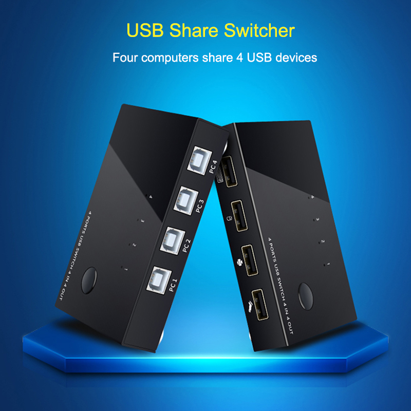 USB Sharer Splitter KVM Switch Box USB 2.0 Switcher 2 Port PCs Sharing 4 Devices For Keyboard Mouse Printer