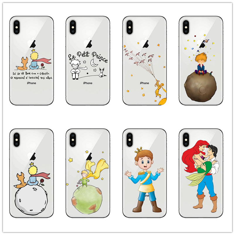 little prince aquarell drawing cartoon Silicone phone case for iphone 11pro pro 11 Max Xr Xs X 6 7 Plus 6S 8 Soft case cover TPU image