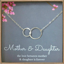 Mother Daughter Silver Necklace for Women Two Interlocking Infinity Double Circl