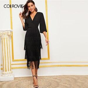 Image 3 - Женское длинное платье карандаш COLROVIE, Гламурное однотонное платье с v образным вырезом и многослойной бахромой, лето 2019