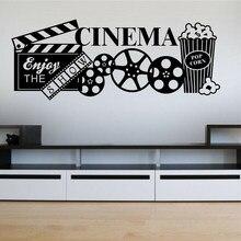 Vinil casa cinema adesivo de parede teatro pipoca decalques de parede filme sala lazer decoração removível arte decoração da parede papel c064