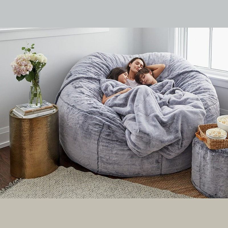 Dropshipping 7ft Giant Fur Bean Bag Cover Living Room Furniture Big Round Soft Fluffy Faux Fur BeanBag Lazy Sofa Bed Cover 2