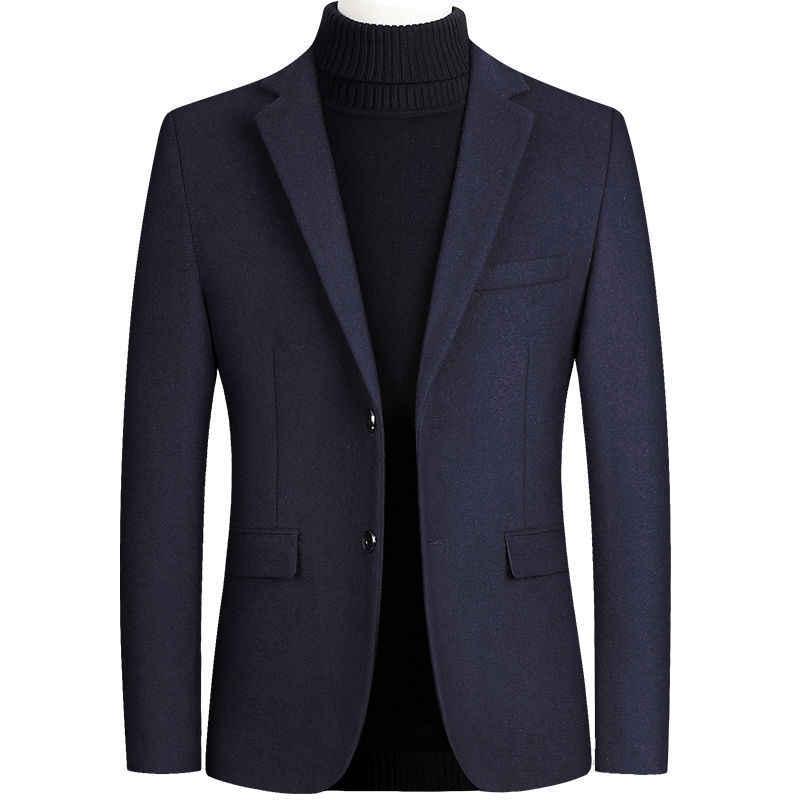 Riinr marka wełniane dla mężczyzn mieszanki garnitur jesień zima nowy jednolity kolor wysokiej jakości męska garnitur wełniany luksusowy mieszanki wełny garnitur męski