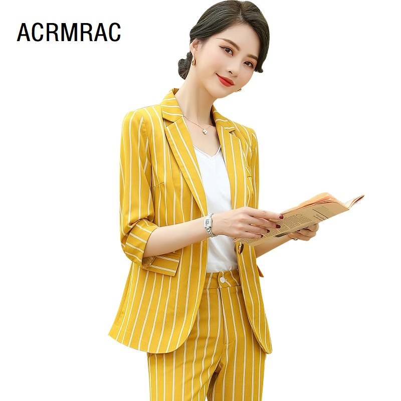 Women Suits Summer Stripe Half Sleeve Blazers Pants Office Lady Formal Work Clothes Women Pants Suits Woman Set Suits 6501