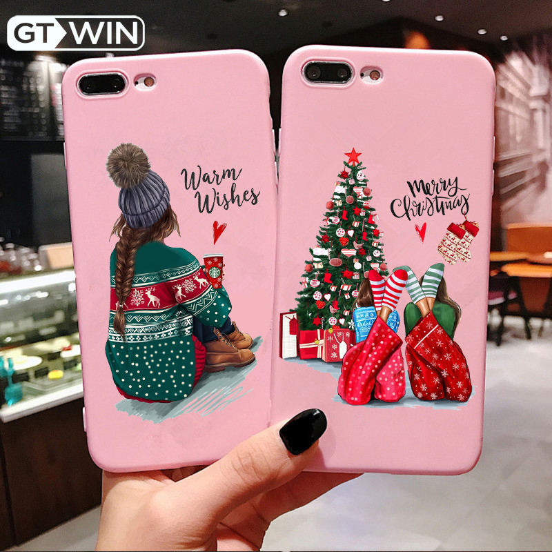 GTWIN Cartoon Santa Phone Cases <font><b>For</b></font> <font><b>iPhone</b></font> 11 Pro Max X XR XS Max <font><b>6</b></font> 6s 7 8 Plus Christmas Tree <font><b>Girl</b></font> Soft TPU Lovely Back <font><b>Cover</b></font> image