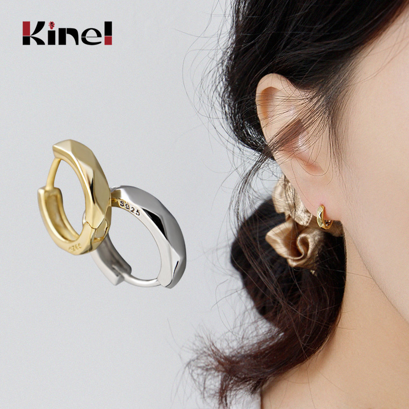 Kinel 2020 New Small 925 Sterling Silver Stud Earrings For Women Simple Smooth Geometry Studs Earring Silver Jewelry