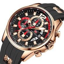 MINI FOCUS – montre-bracelet de sport pour hommes, marque de luxe, Quartz, étanche, bracelet en Silicone noir