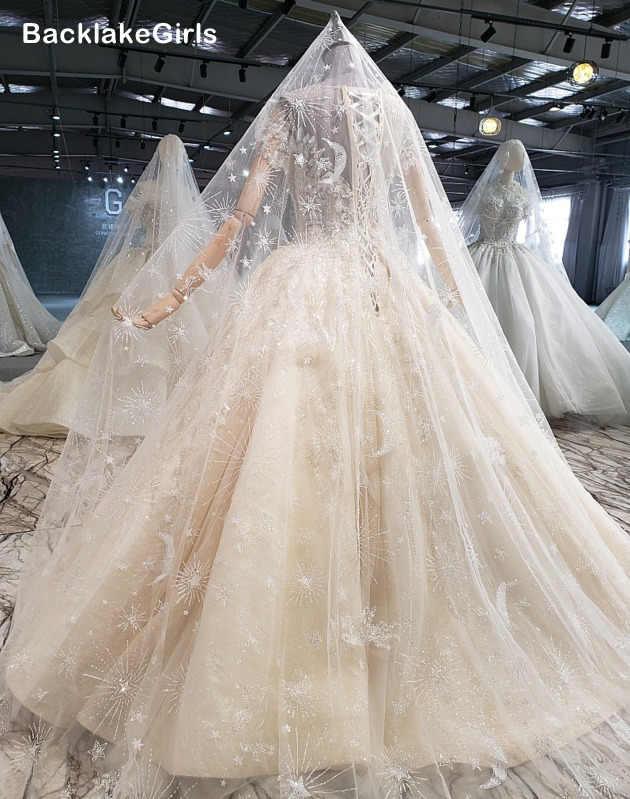 מבריק מחוך חתונה שמלת 2020 מכירה לוהטת נוצץ רצפת אורך קצר שרוול O-צוואר תחרה עד הכלה שמלות Vestido דה Novia Boho
