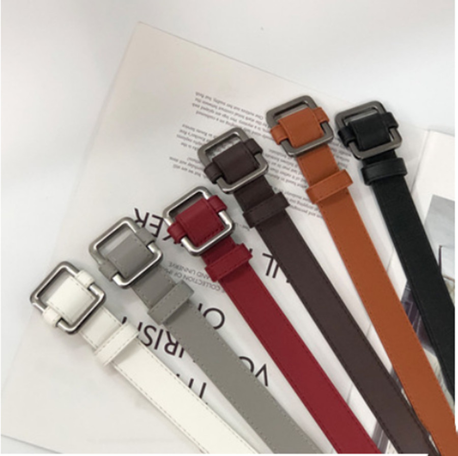 New Square Buckle Ladies Belt Fashion Pu Belt Ladies Dress Sweater Belt