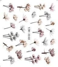 Pegatinas de flores para uñas en relieve 3D, adhesivos para manicura DIY, deslizador, calcomanías de decoración