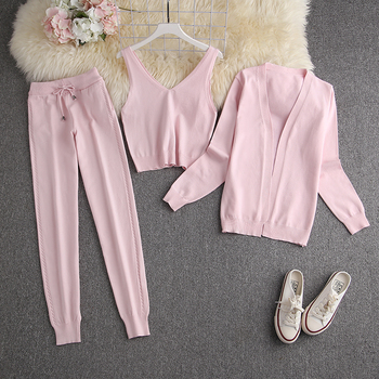 ALPHALMODA Spring Candy Color Knitted Cardigans + Camisole + Pants 3pcs Fashion Suit Women Seasonal Stylish Clothes Set 15