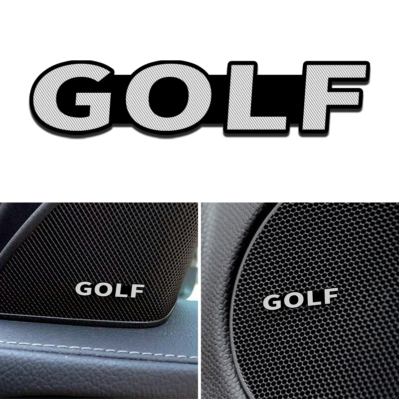 4pcs Speaker Aluminum 3D Sticker Horn Sound Letter Stickers For Volkswagen VW GOLF MK6  Golf 6  Golf 7 Car Styling Badge Decorat
