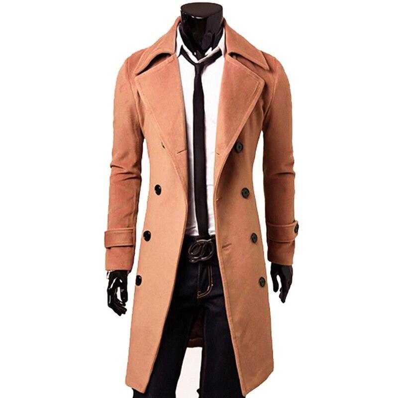 Men/'s Wool Blend Single Breasted Long Trench Coat Long Jacket Outwear Stylish**