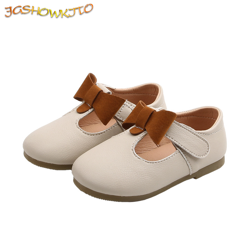 Kids Shoes Girls Shoes For Kids Toddler Baby Girl Shoes Casual Flats Princess Sweet Bow-knot Soft T-strap Cut-outs Leather Shoes