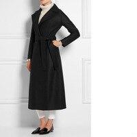 New Fashion 2019 Fall Winter Black Simple Wool Maxi long Coat Women Notched Lapel Robe Overcoat manteau femme