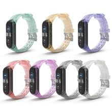 Cinturino in Silicone morbido di ricambio per cinturino da polso per Xiaomi Mi Band 5 6 cinturino per orologio da polso intelligente per cinturini Miband 4 3 Glitter