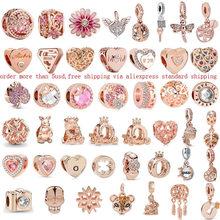 1 шт. ажурные Розовый Дейзи цветок мама бусины, семейные талисманы, подходят к оригинальным браслетам Pandora, для женщин, сделай сам, ювелирное ...