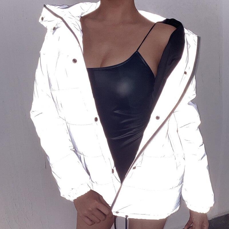 Светоотражающие серые негабаритные женские куртки на молнии с длинным рукавом и пуговицами, свободная Толстая укороченная куртка, сексуал...