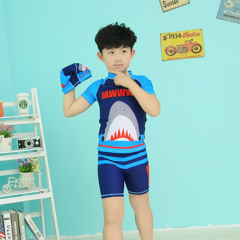 Big Boy BOY'S Swimsuit Sports Short Sleeve Shark Figure One-piece With Swim Cap Children Split Type Swimwear