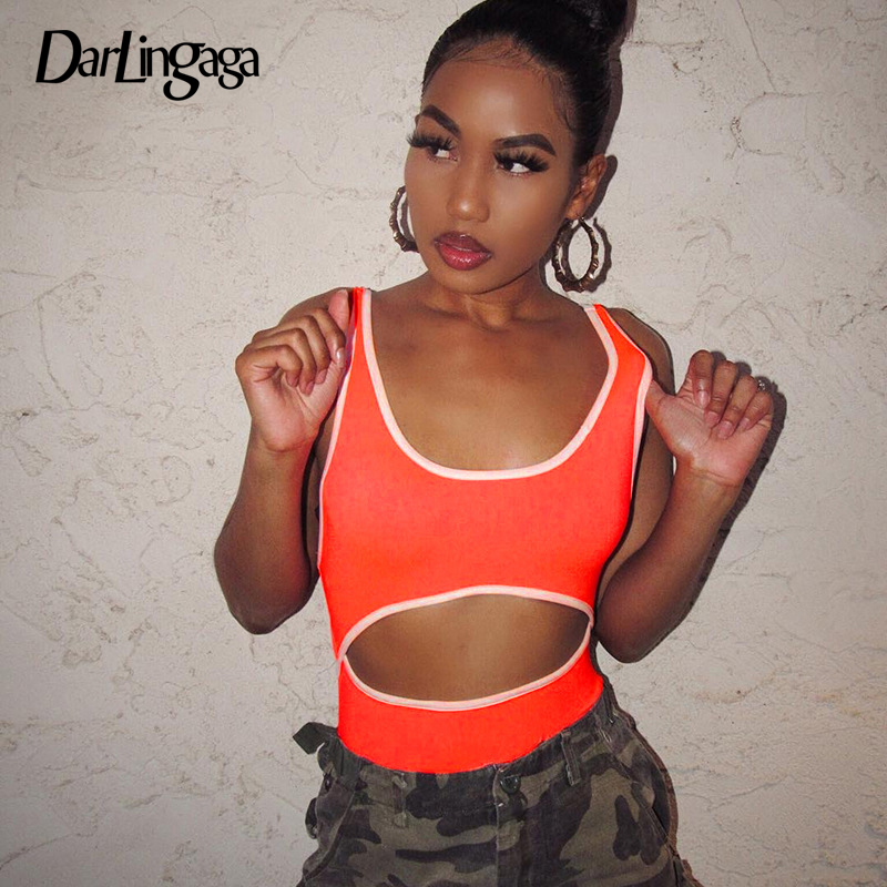 Darlingaga Neon Cut Out Festival Sexy Bodysuit Women Stripe Patchwork Summer Body Suit Tank Fitness Bodysuits One Piece Jumpsuit